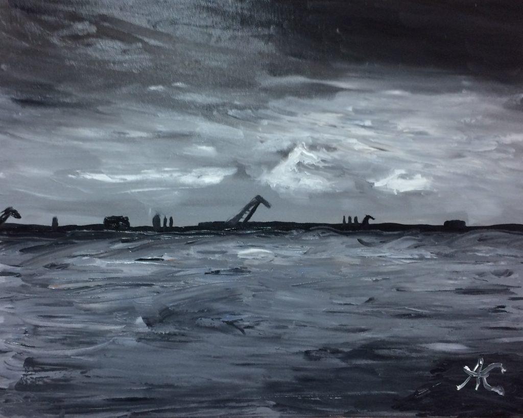 Алексей Кукушкин Морской порт Санкт Петербург х м 40х50 2017 1